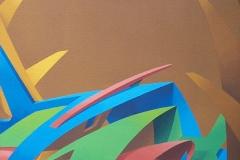 "2006 ""La maison du samouraï"" -  Acrylique sur toile encollée sur isorel - 49 x 34,7 cm. ""The Samouraï's house"" -  Acrylic on canvas bonded on masonite - 19,3 x 13,6 in. Adagp © Vida."