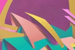 """2006 - """" La tanière du dragon"""" Acrylique sur toile encollée sur isorel - 64 x 32 cm. """"The dragon's lair""""  Acrylic on canvas bonded on masonite - 25,2 x 12,6 in. Adagp © Vida."""