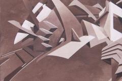 "2006 - ""Attention archi volatile""  Acrylique sur toile encollée sur isorel - 49,6 x 31 cm. Acrylic on canvas bonded on masonite - 19,5 x 12,2 in. Adagp © Vida."