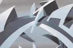 """2006 - """"Épicentre""""  Acrylique sur toile encollée sur isorel - 68,7 x 40,3 cm. """"Epicenter""""  Acrylic on canvas bonded on masonite - 27 x 15,8 in. Adagp © Vida."""