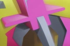 """2006 - """"Vitamine D""""  Peinture aérosol sur toile encollée sur bois - 162 x 97 cm. Spray paint on canvas laid down on wood - 63,7 x 38,2 in. Adagp © Vida."""