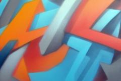 """2006 - """"Vitamine C""""  Peinture aérosol sur toile encollée sur bois - 130 x 97 cm. Spray paint on canvas laid down on wood - 51 x 38,2 in. Adagp © Vida."""